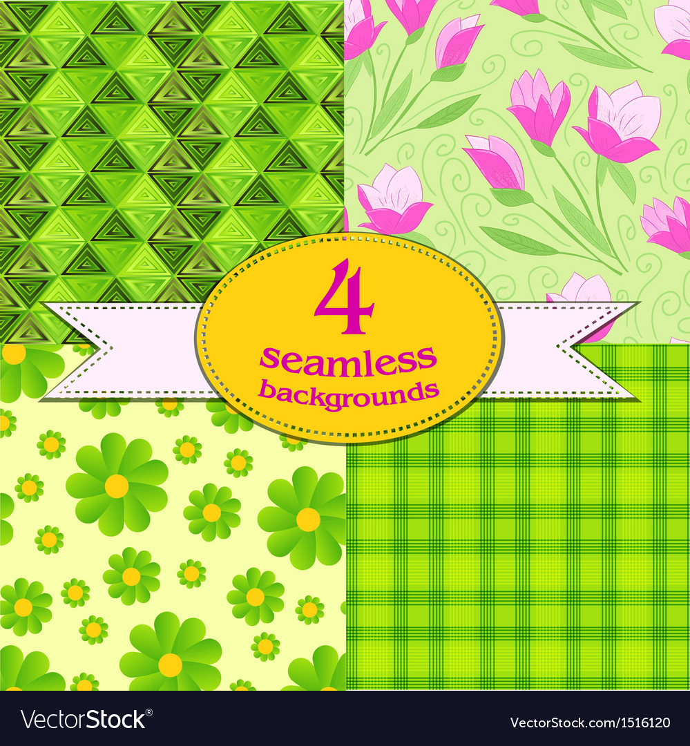 Spring seamless backgrounds vector | Price: 1 Credit (USD $1)