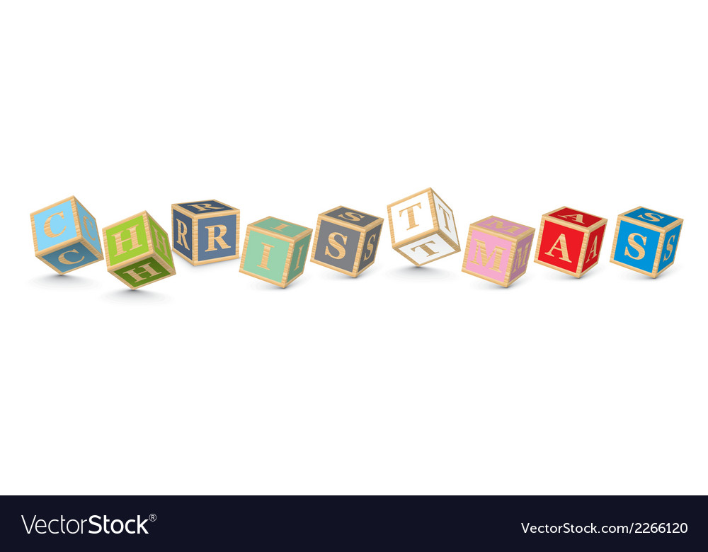 Word christmas written with alphabet blocks vector | Price: 1 Credit (USD $1)