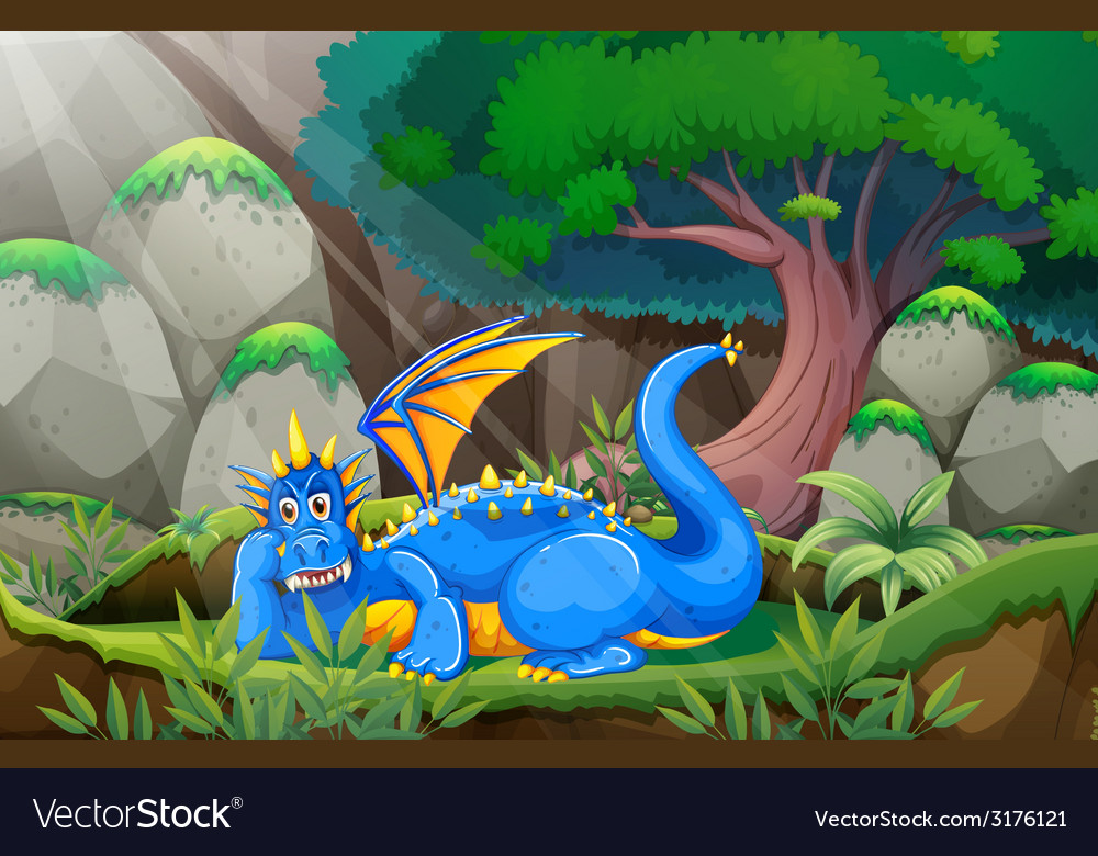 Dragon and forest vector | Price: 3 Credit (USD $3)