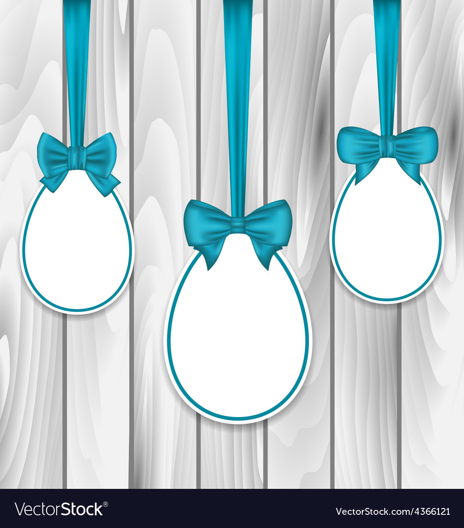 Easter paper eggs wrapping blue bows on wooden vector | Price: 1 Credit (USD $1)