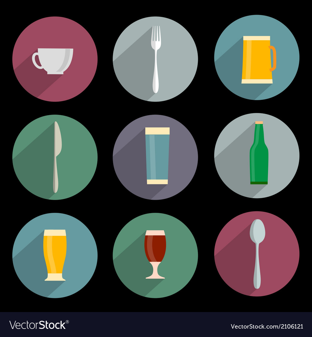 Flat icons of kitchen objects vector | Price: 1 Credit (USD $1)