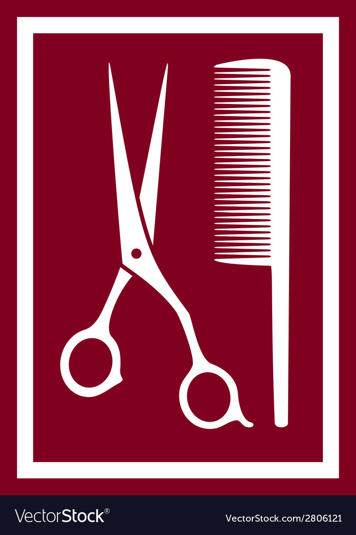 Icon with barber scissors and comb vector | Price: 1 Credit (USD $1)