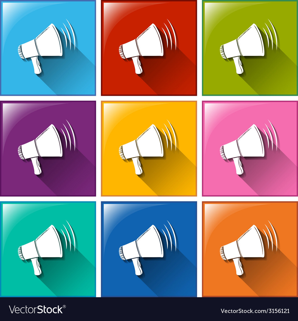 Icons with megaphones vector | Price: 1 Credit (USD $1)