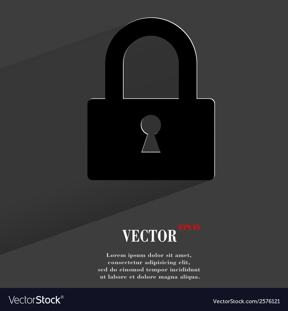 Padlock flat modern web button with long shadow vector | Price: 1 Credit (USD $1)