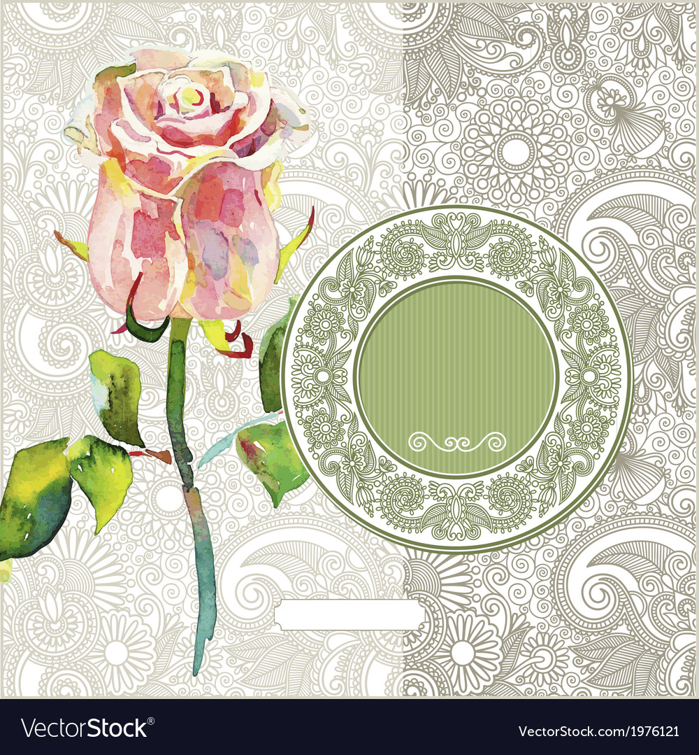 Pattern with pink watercolor rose vector   Price: 1 Credit (USD $1)