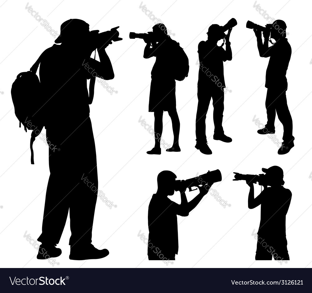Photographers silhouettes vector | Price: 1 Credit (USD $1)