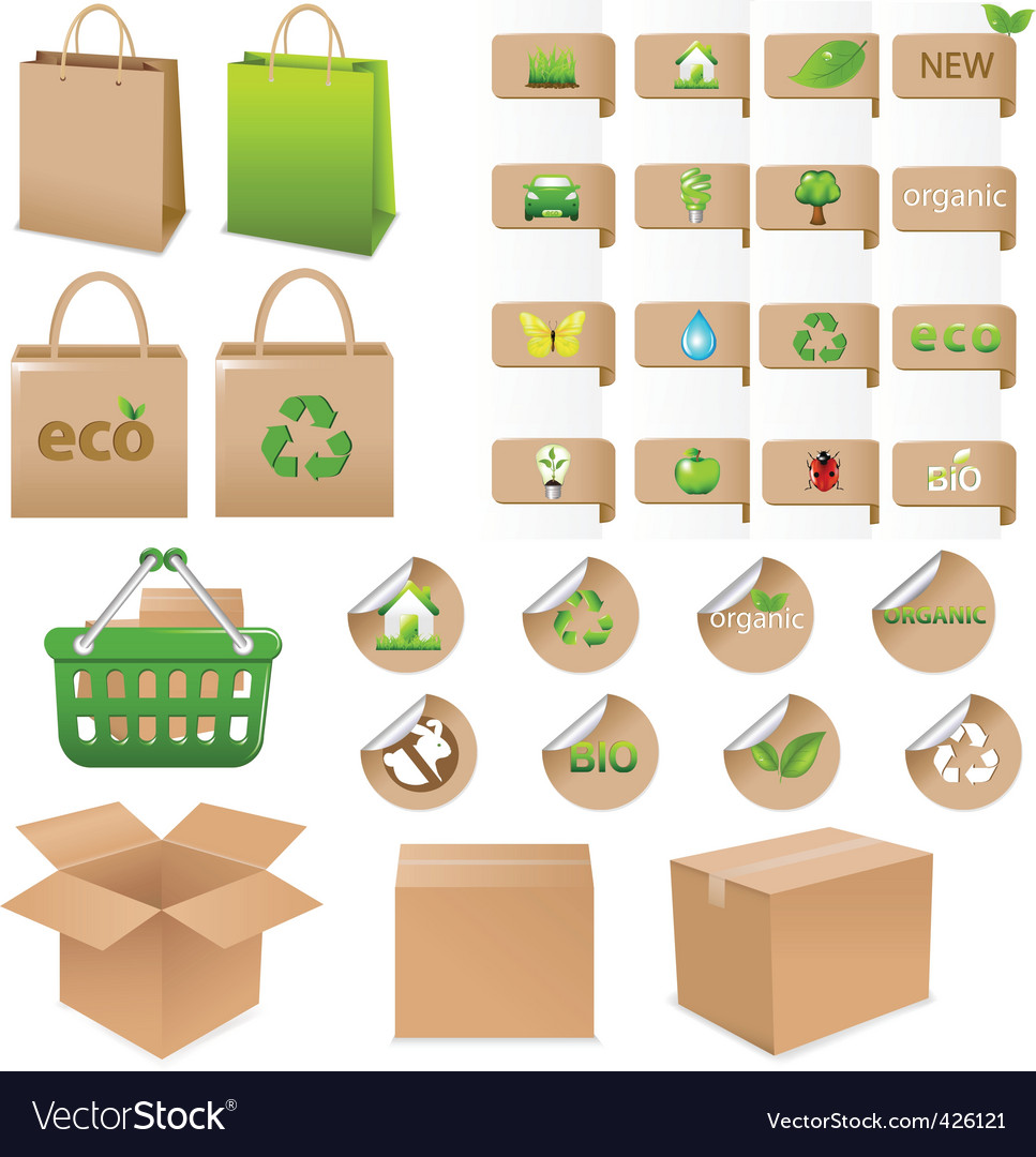 Set of ecological container vector | Price: 1 Credit (USD $1)