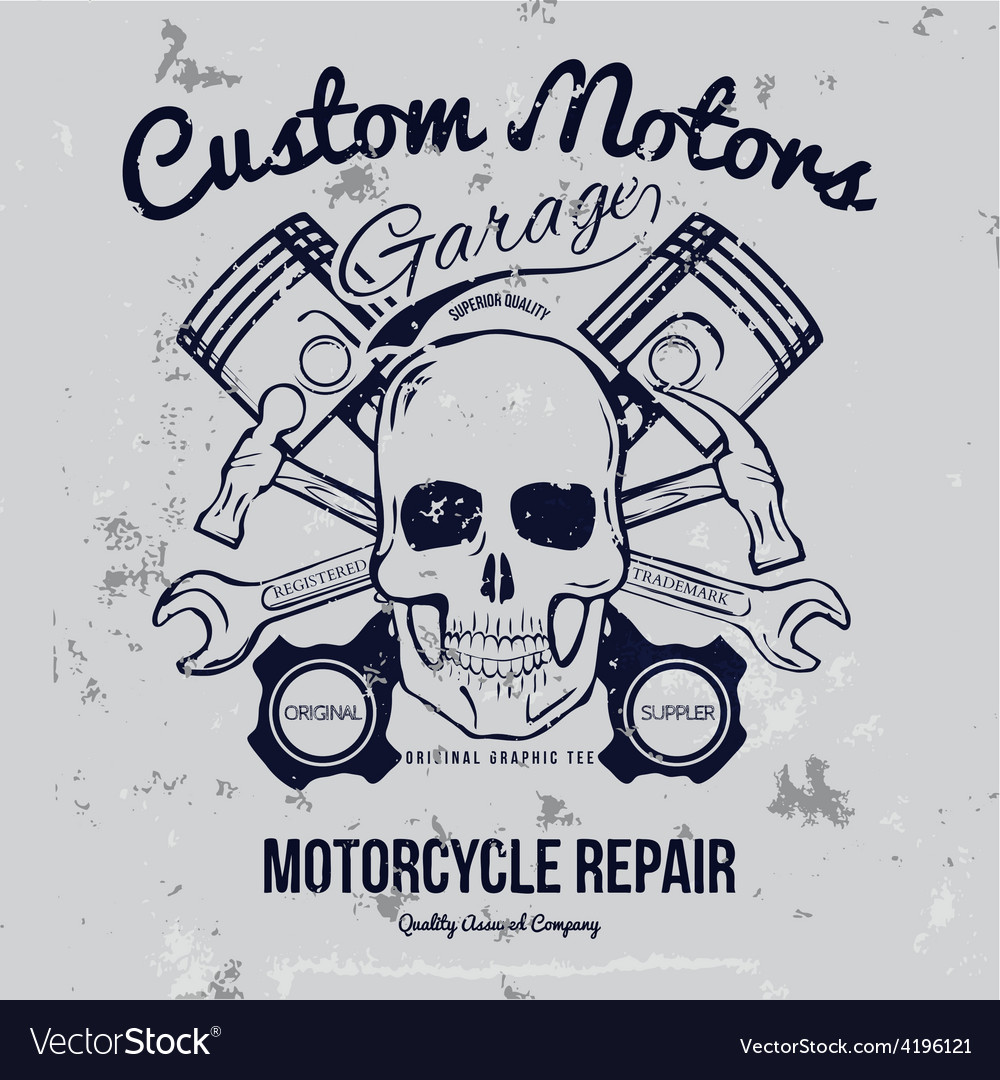 Skull and pistons t-shirt graphic vector | Price: 1 Credit (USD $1)