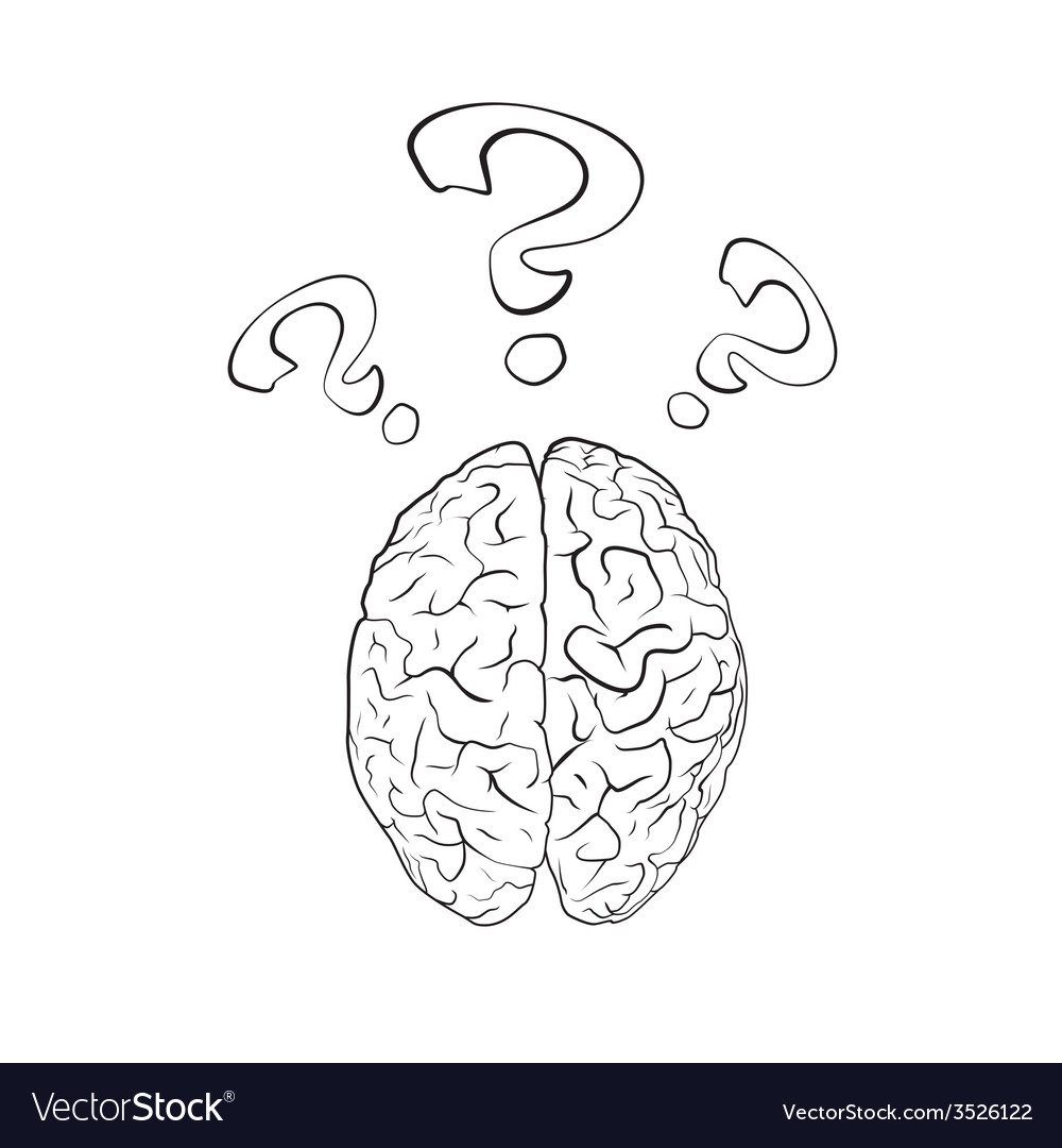 Brain with question mark vector | Price: 1 Credit (USD $1)