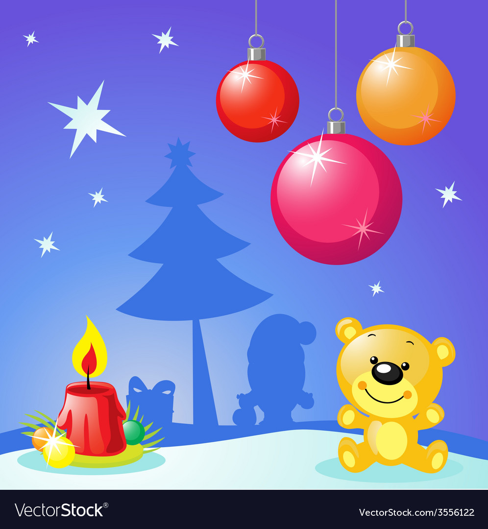 Christmas design with xmas balls candle and bear vector | Price: 1 Credit (USD $1)