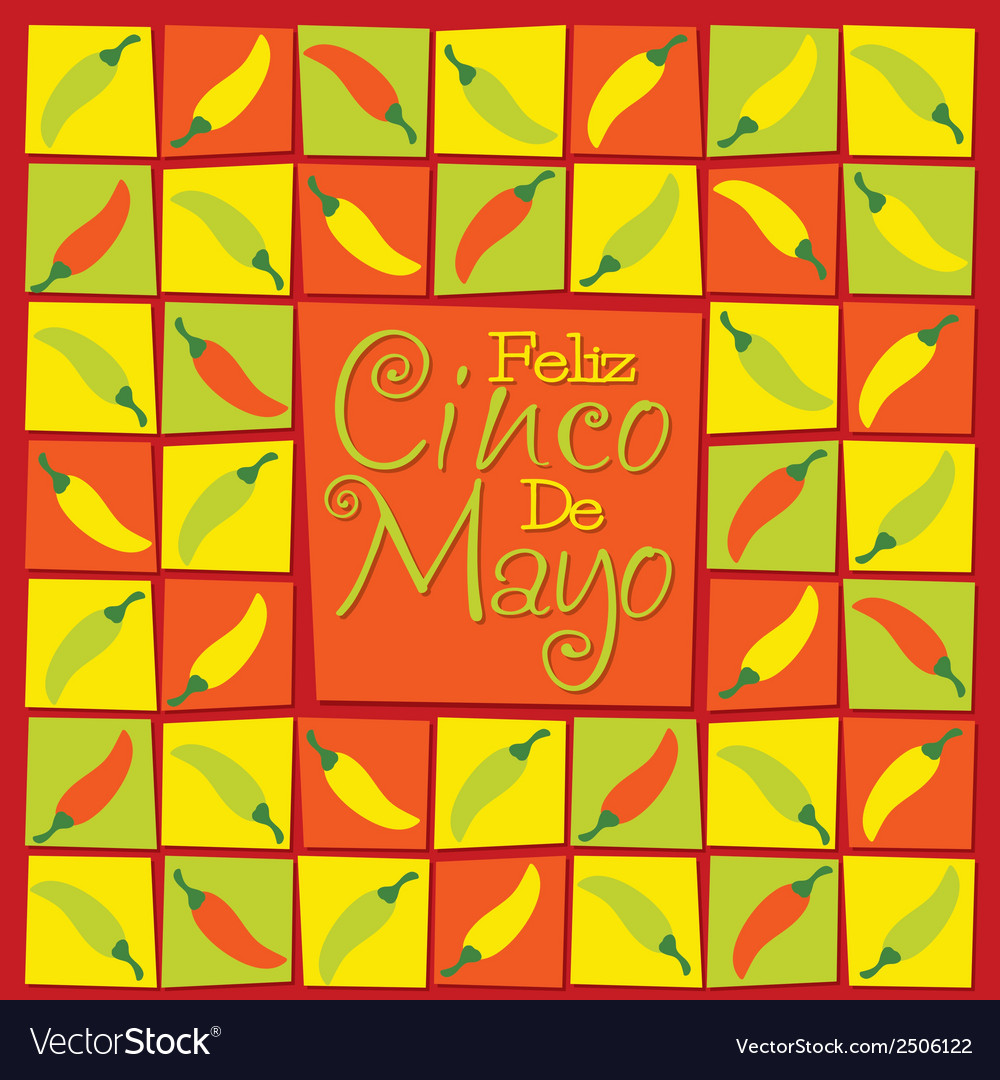 Cinco de mayo chilli card in format vector | Price: 1 Credit (USD $1)