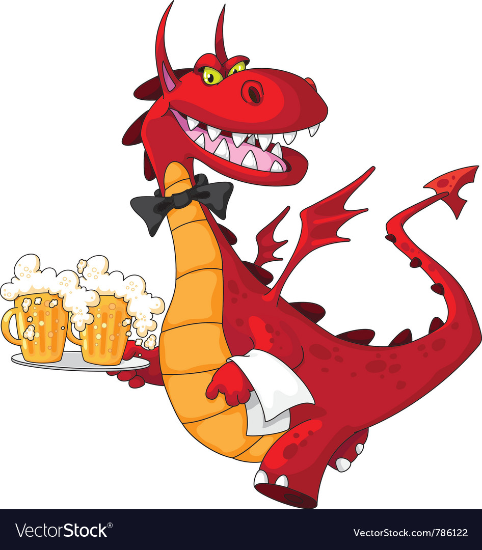 Dragon waiter with beer vector | Price: 1 Credit (USD $1)