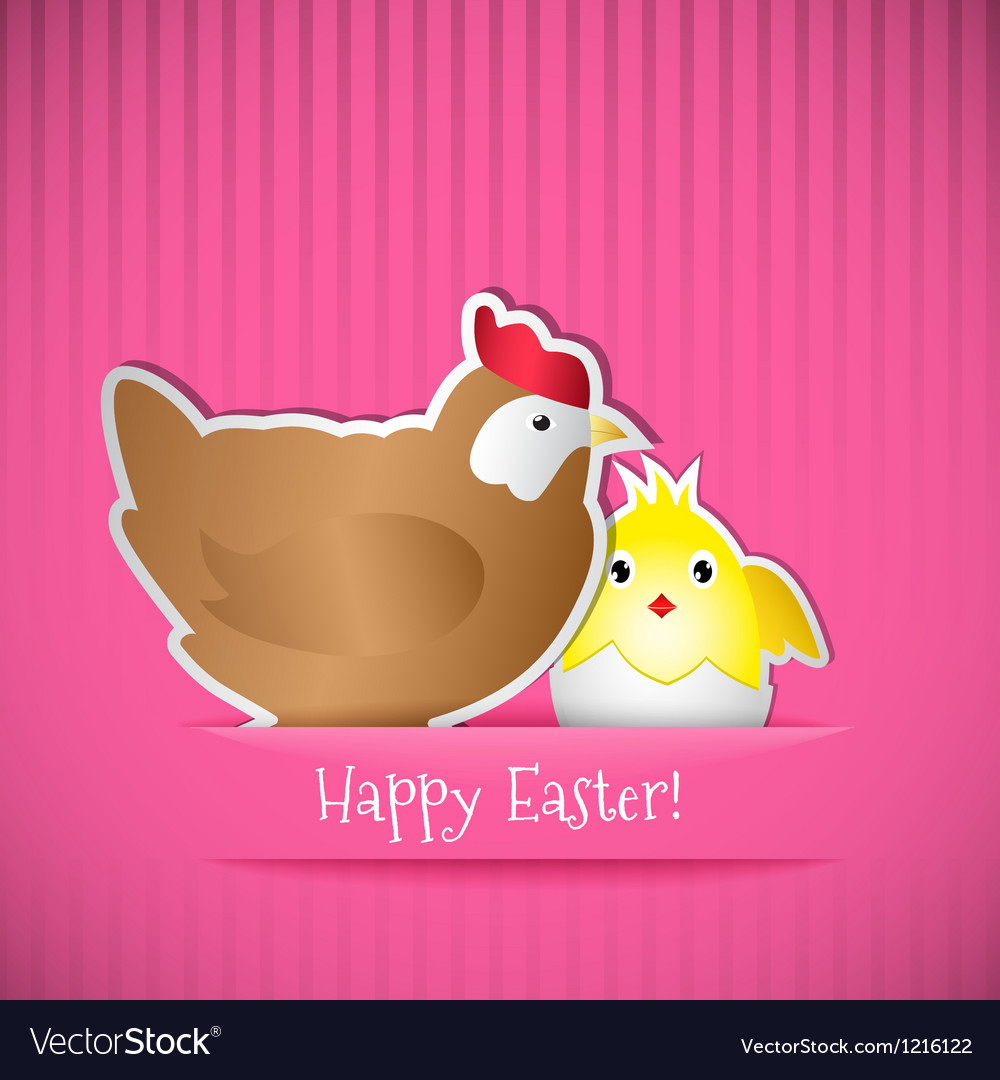 Easter card with chicken and chick vector | Price: 1 Credit (USD $1)