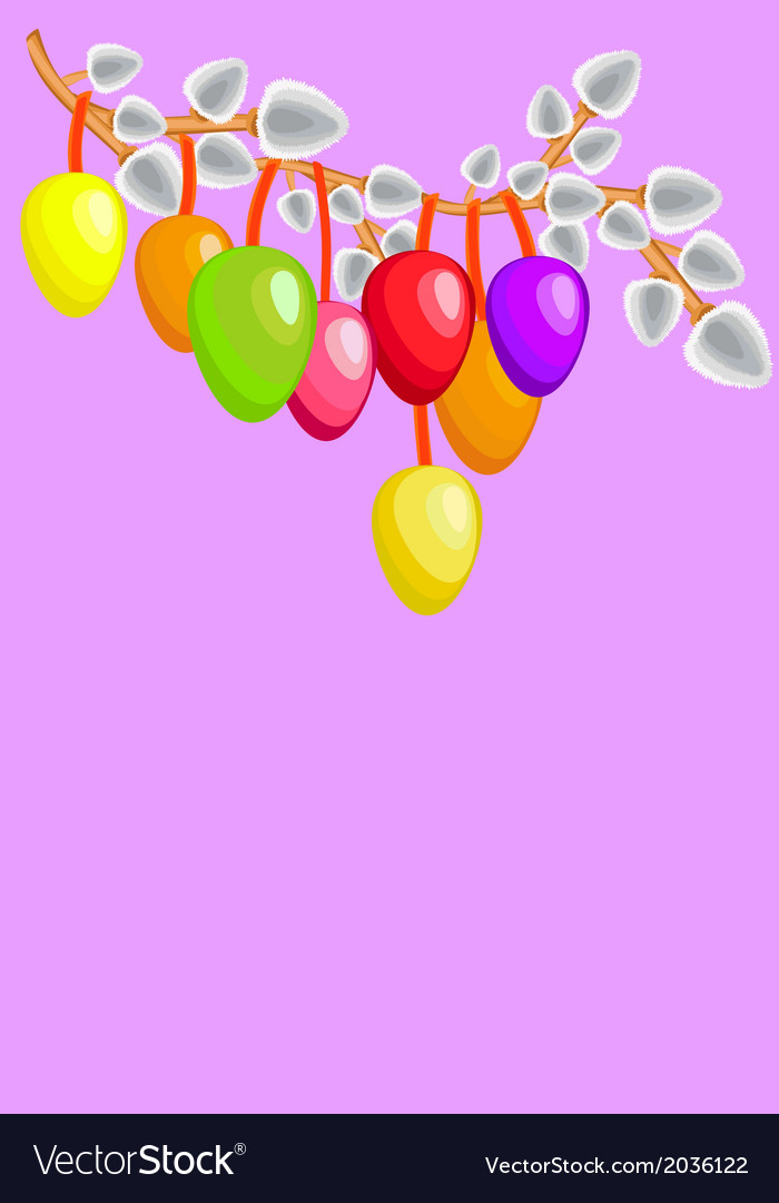 Easter colored eggs with willows vector | Price: 1 Credit (USD $1)