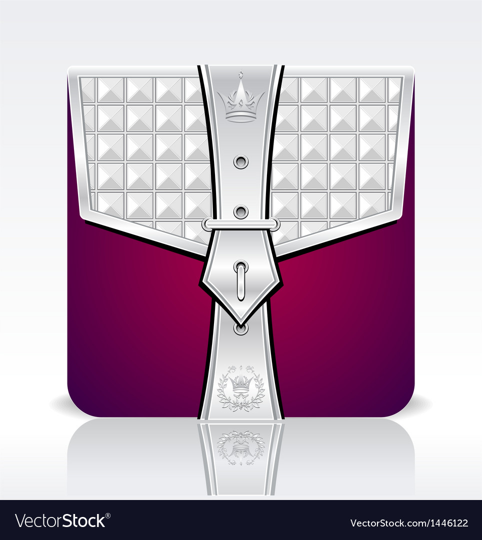 Folder icon with crown leaves silver red colors vector | Price: 1 Credit (USD $1)