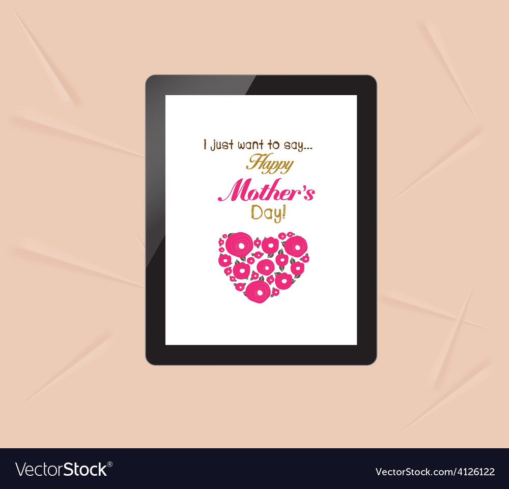 Happy mothers with greeting card in tablet vector | Price: 1 Credit (USD $1)