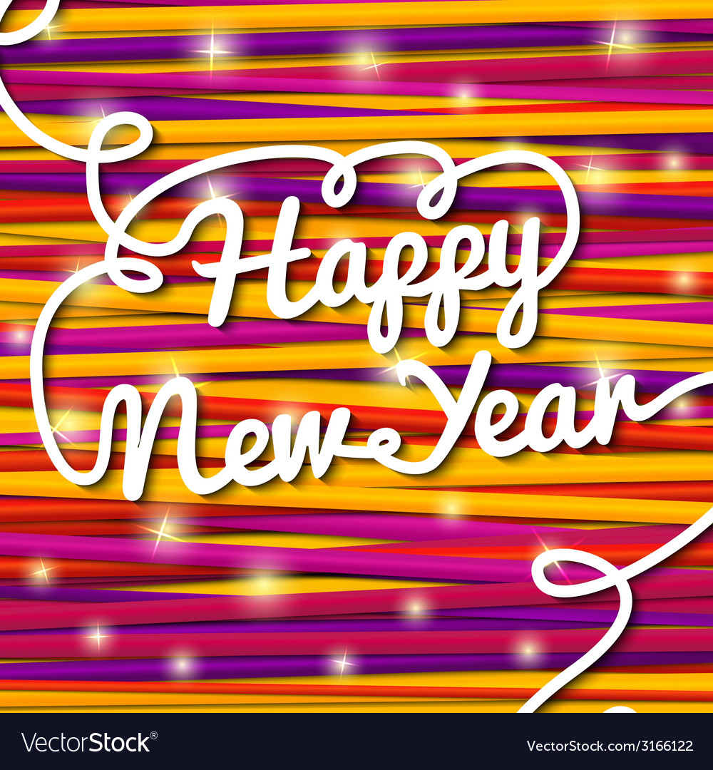 Happy new year handwritten white swirl lettering vector | Price: 1 Credit (USD $1)