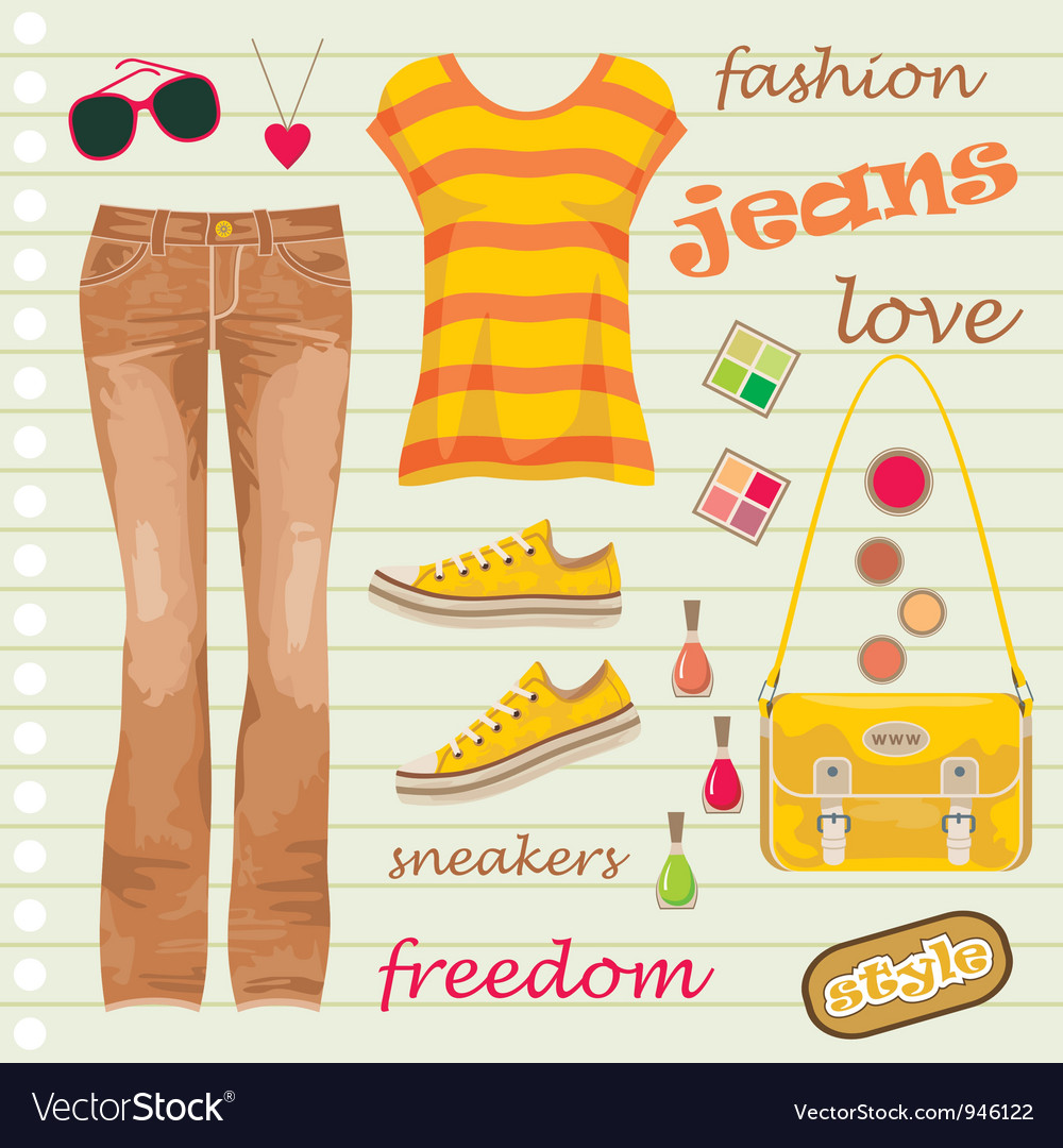 Jeans fashion set vector | Price: 1 Credit (USD $1)
