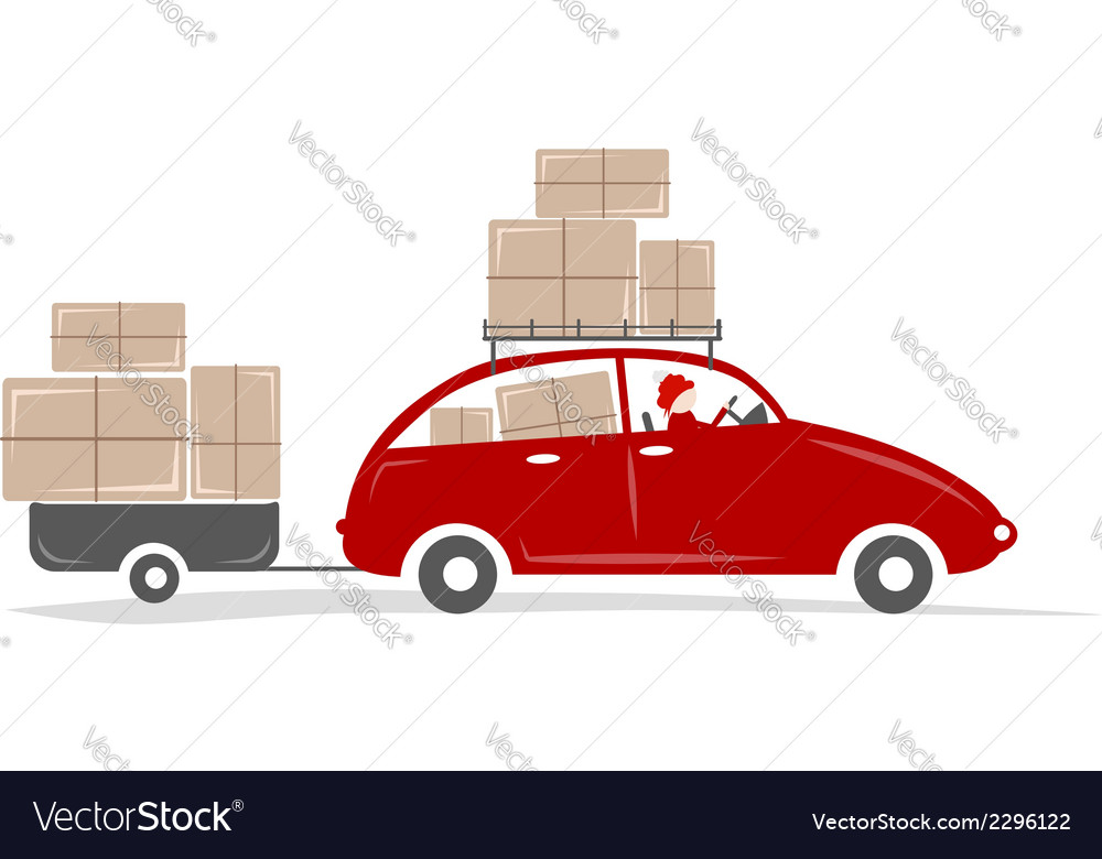 Man driving red car with boxes on the roof rack vector | Price: 1 Credit (USD $1)