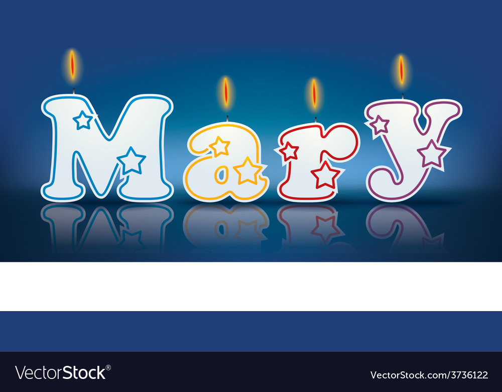 Mary written with burning candles vector | Price: 1 Credit (USD $1)