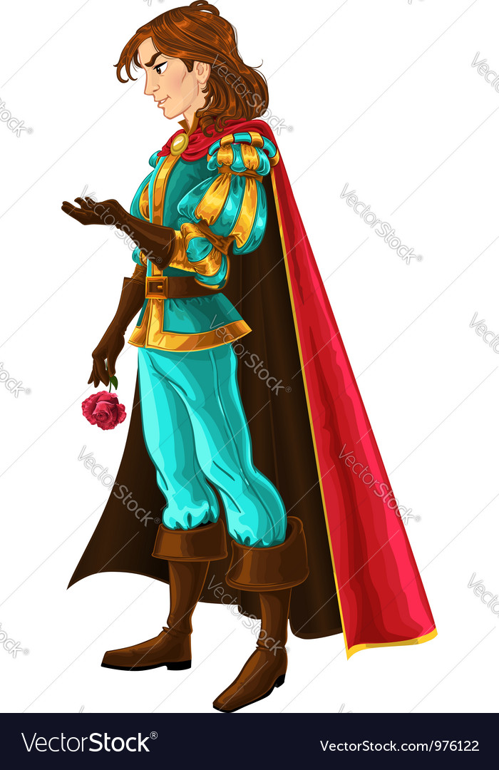 Prince in blue and gold with rose vector | Price: 5 Credit (USD $5)