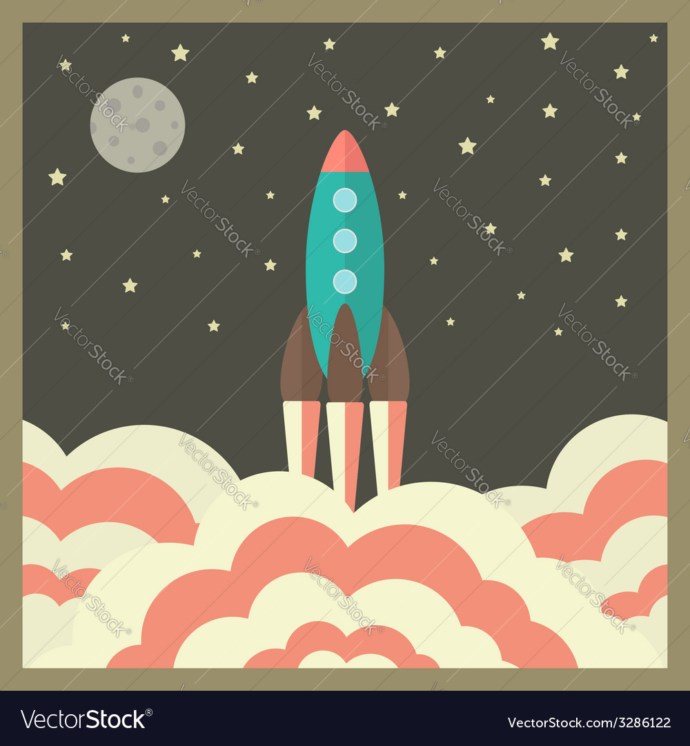 Rocket takes off at night and business startup vector | Price: 1 Credit (USD $1)
