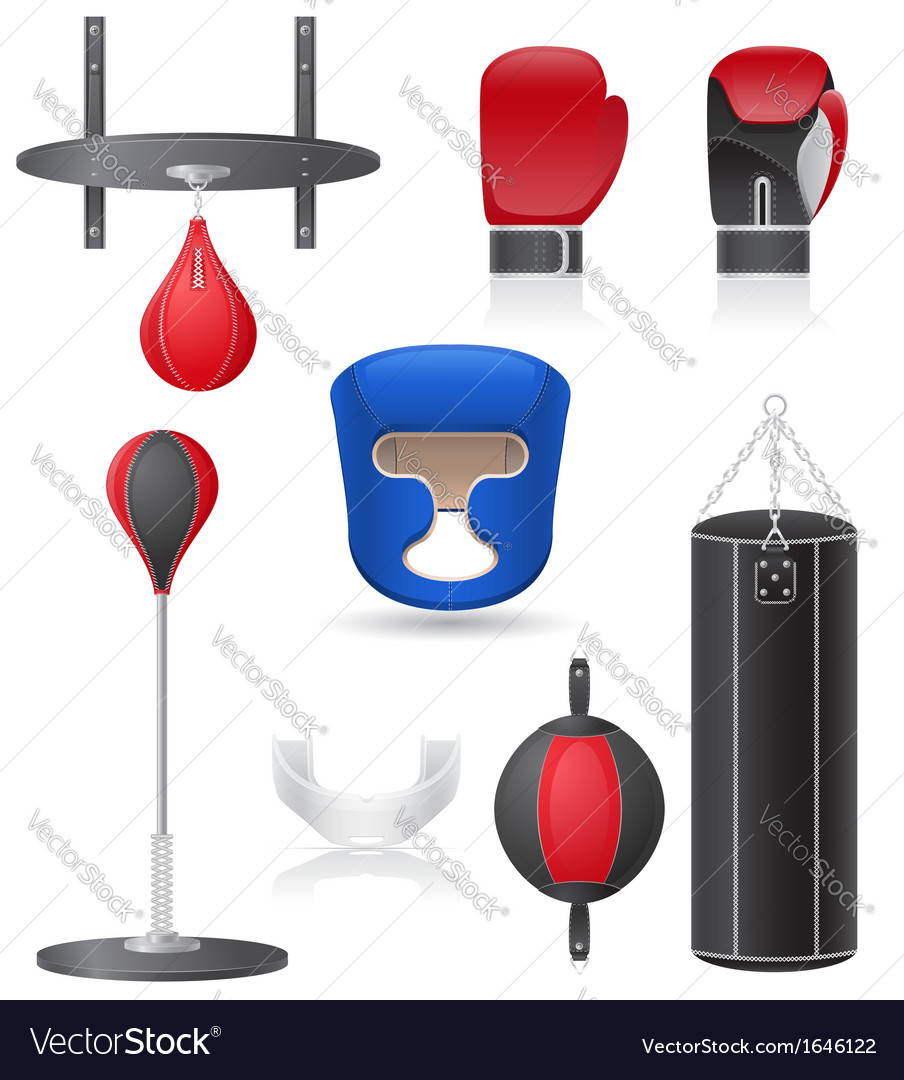 Set icons of equipment for boxing vector | Price: 1 Credit (USD $1)