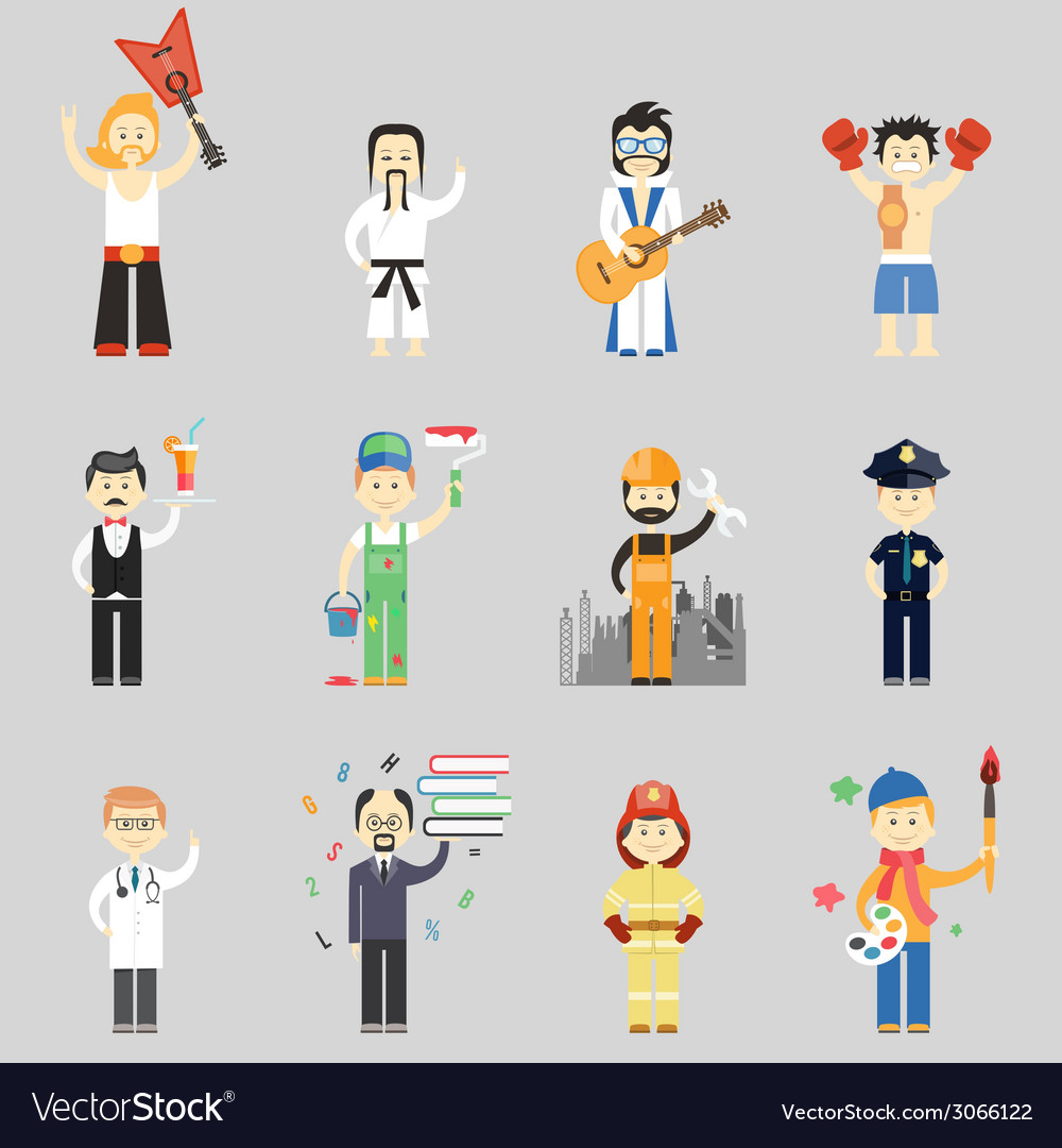Set of characters in different professions vector | Price: 1 Credit (USD $1)