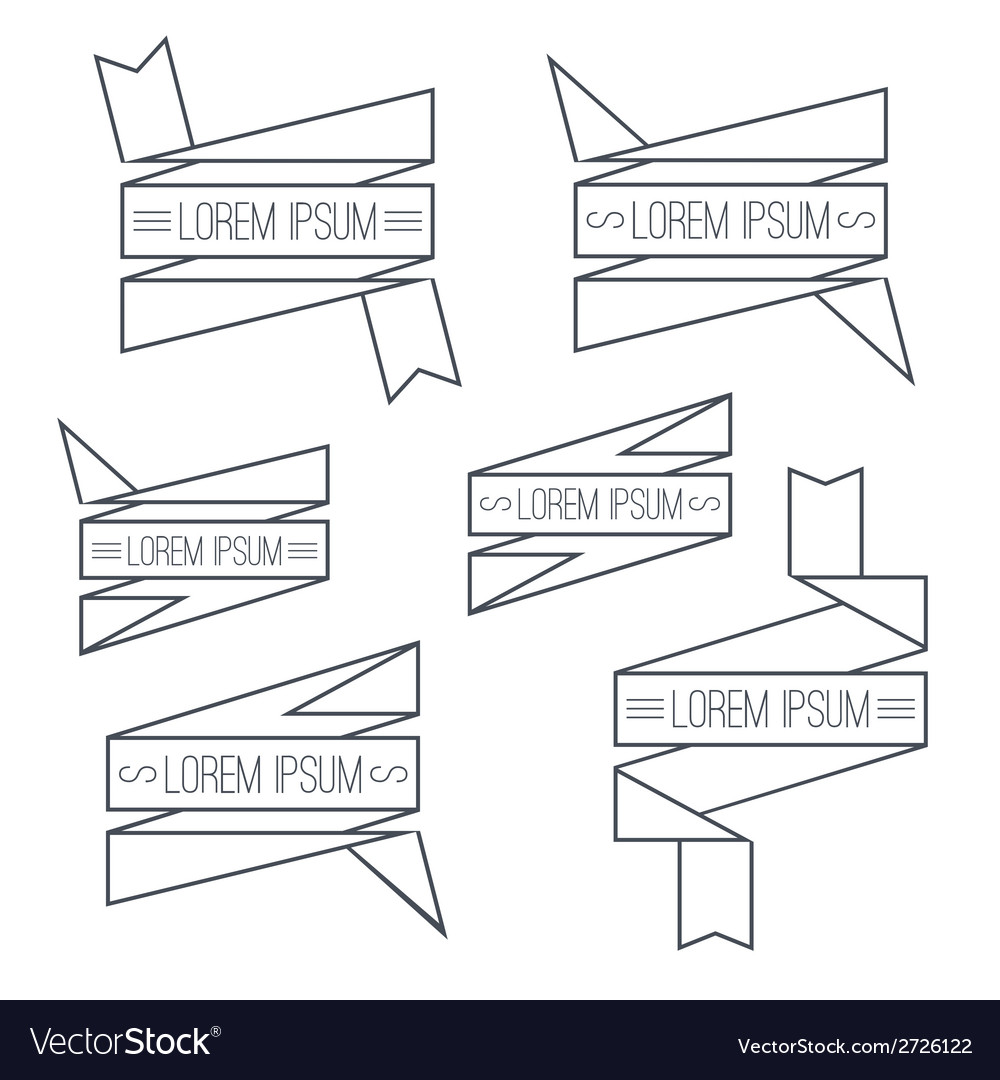 Set of ribbons thin line vector | Price: 1 Credit (USD $1)