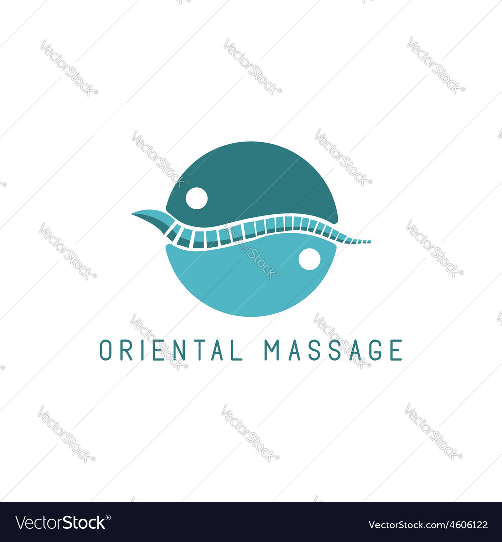 Spine logo oriental massage blue symbol diagnostic vector | Price: 1 Credit (USD $1)