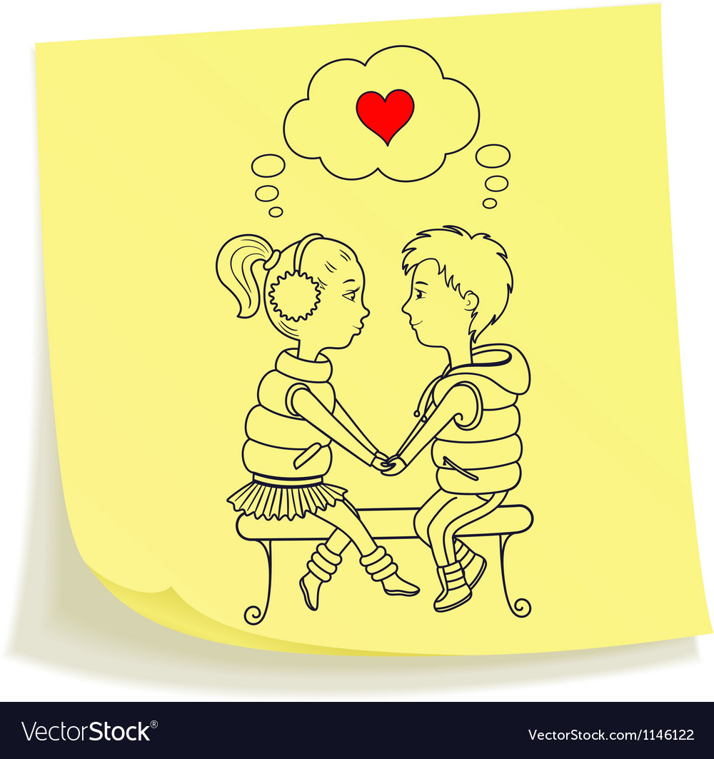 Sticky note with drawn teens couple in love vector | Price: 1 Credit (USD $1)
