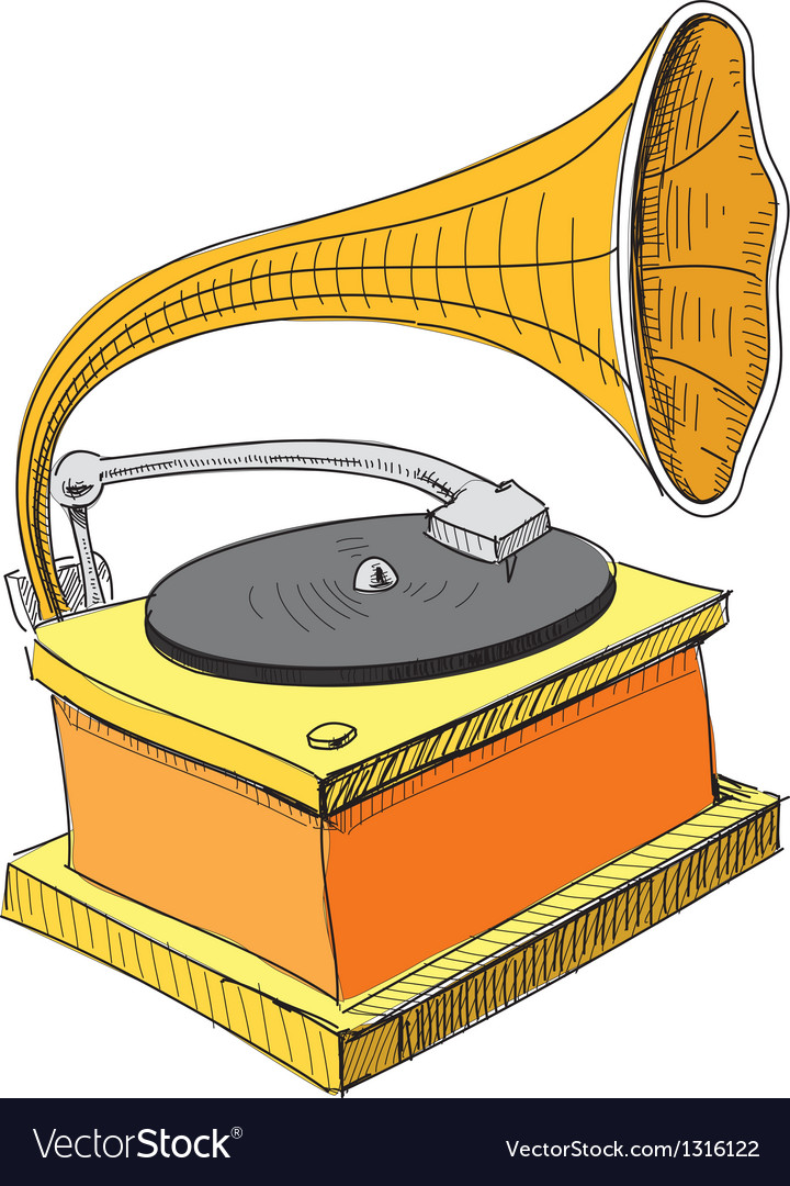 Vintage gramophone isolated on white vector | Price: 3 Credit (USD $3)