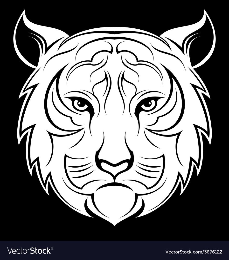 White tiger head vector | Price: 1 Credit (USD $1)