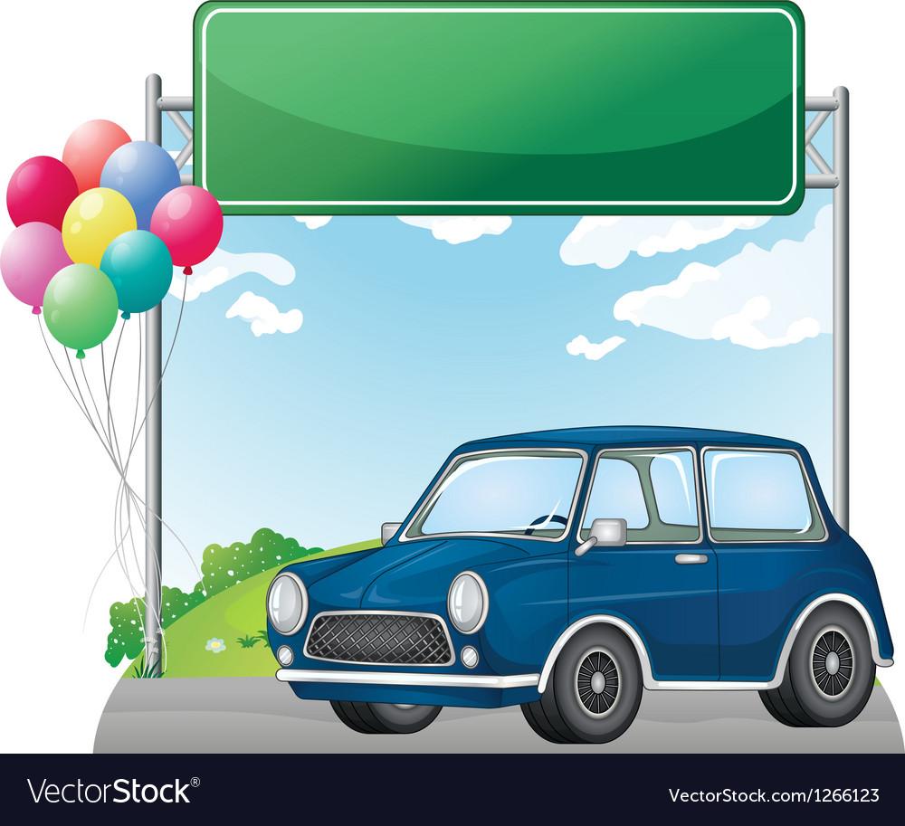 A car below an empty signage vector   Price: 1 Credit (USD $1)