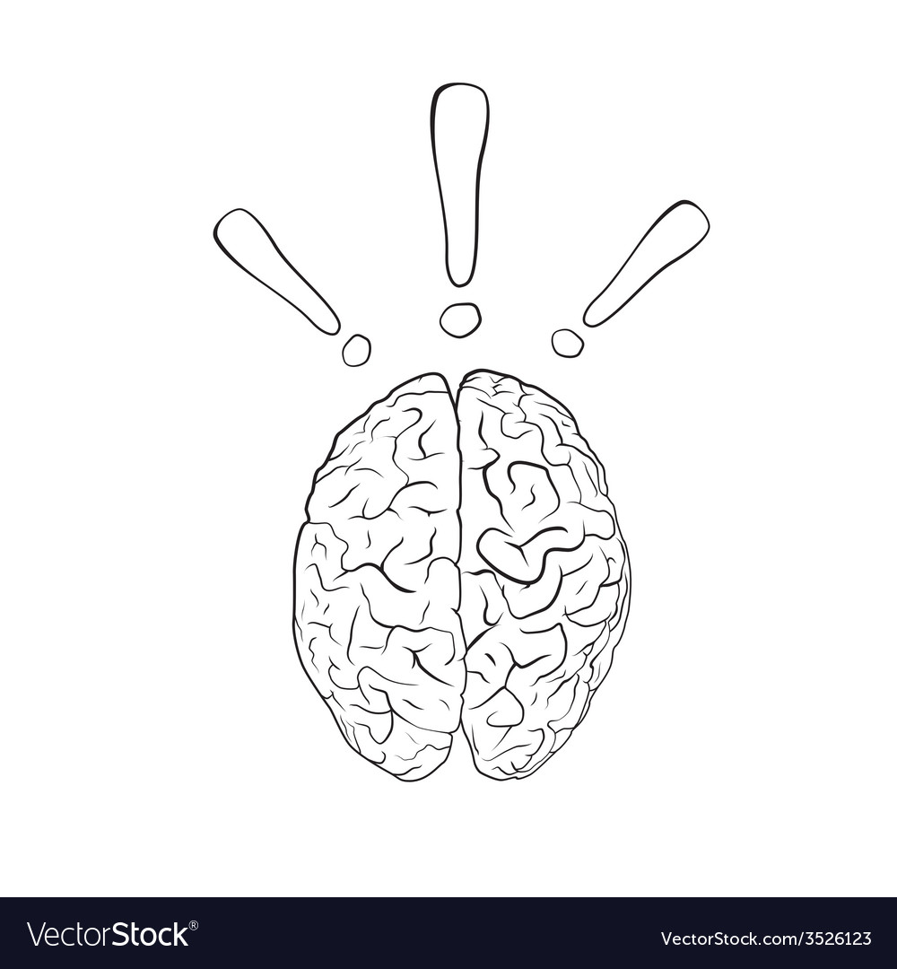 Brain with exclamation mark vector | Price: 1 Credit (USD $1)
