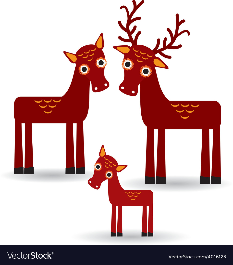 Deer and fawn set of funny animals with cubs on vector   Price: 1 Credit (USD $1)