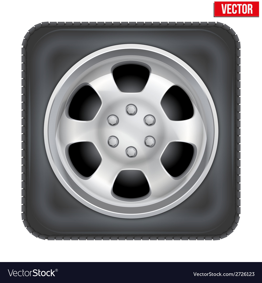 Icon of square car wheel on white background vector | Price: 1 Credit (USD $1)