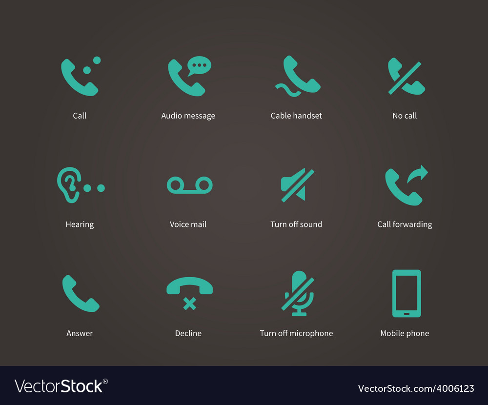 Phone and communication icons set vector | Price: 1 Credit (USD $1)