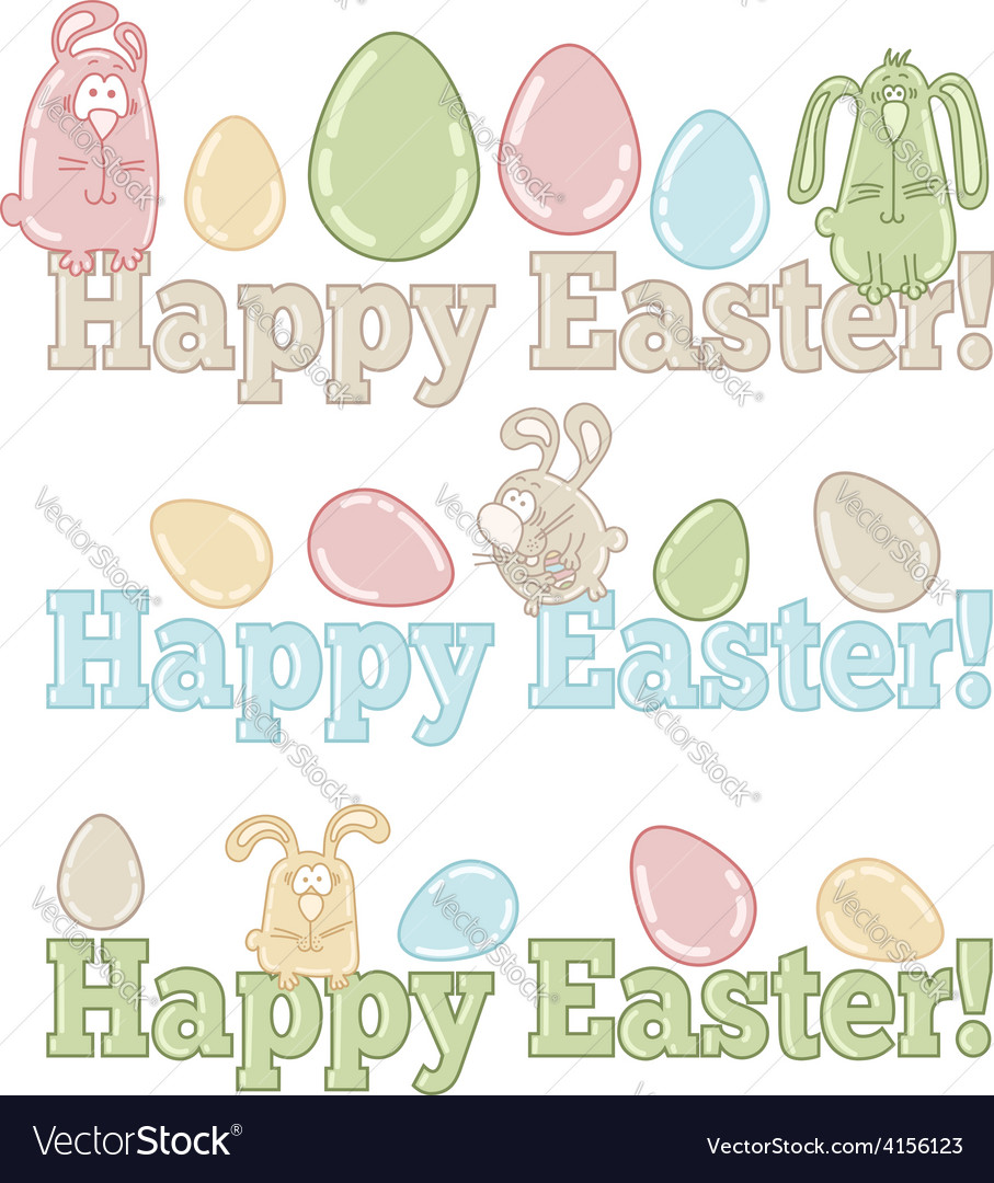 Set of easter symbols - eggs bunnies greeting vector | Price: 1 Credit (USD $1)