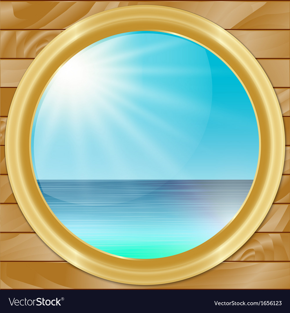 Ship porthole with seascape view vector | Price: 1 Credit (USD $1)