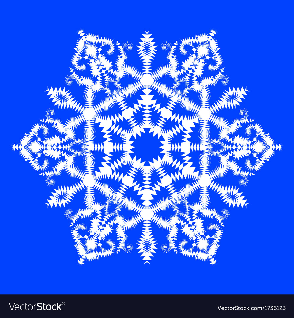Snowflake on blue background vector | Price: 1 Credit (USD $1)