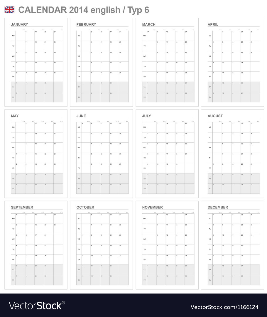 Calendar 2014 english type 6 vector | Price: 1 Credit (USD $1)