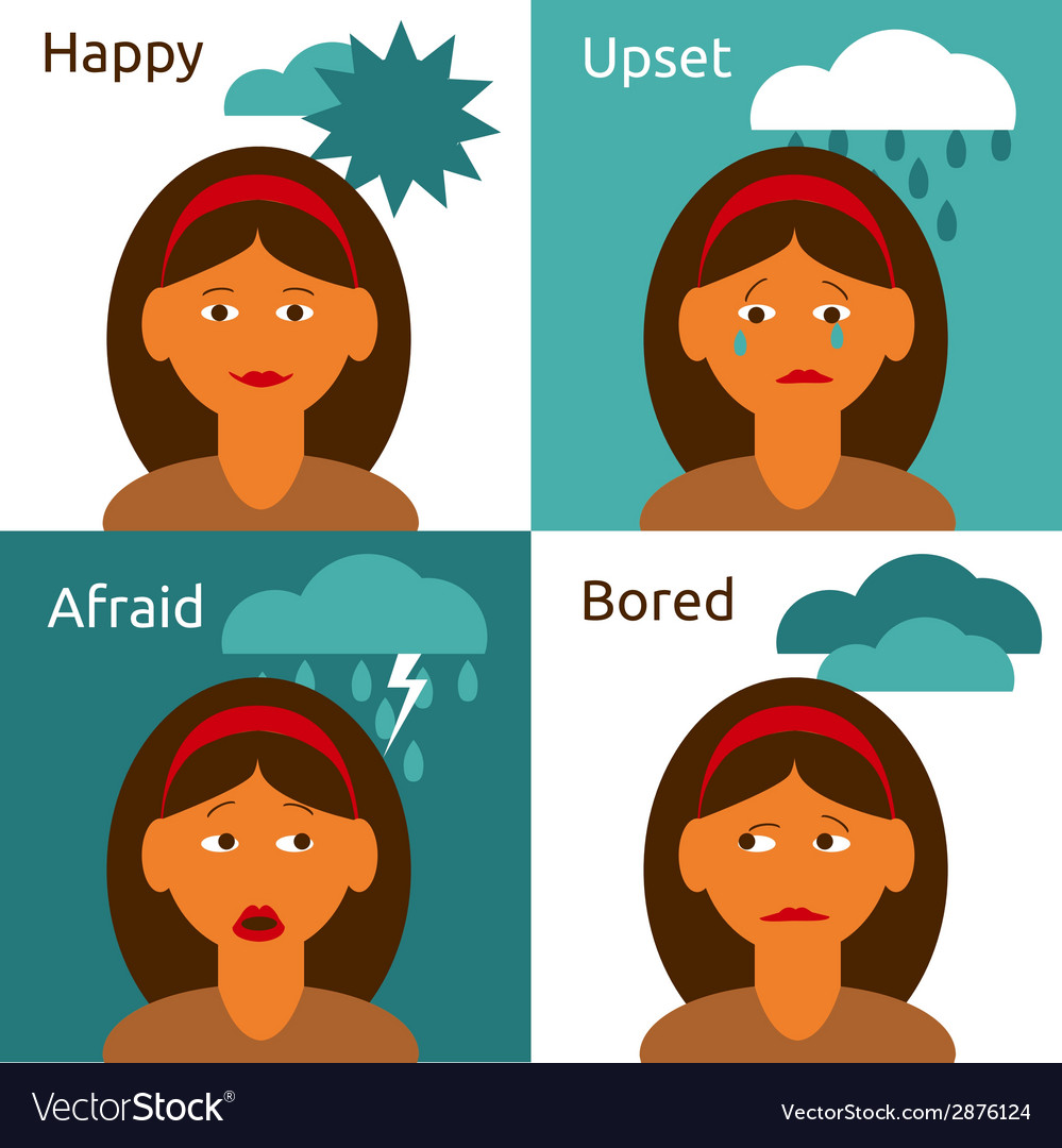 Cartoon woman character emotions icons composition vector | Price: 1 Credit (USD $1)