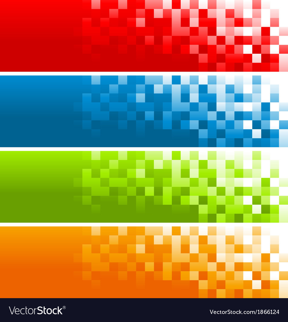 Colorful pixel banners vector | Price: 1 Credit (USD $1)