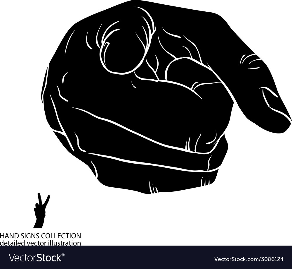 Finger pointing hand showing directly at observer vector | Price: 1 Credit (USD $1)