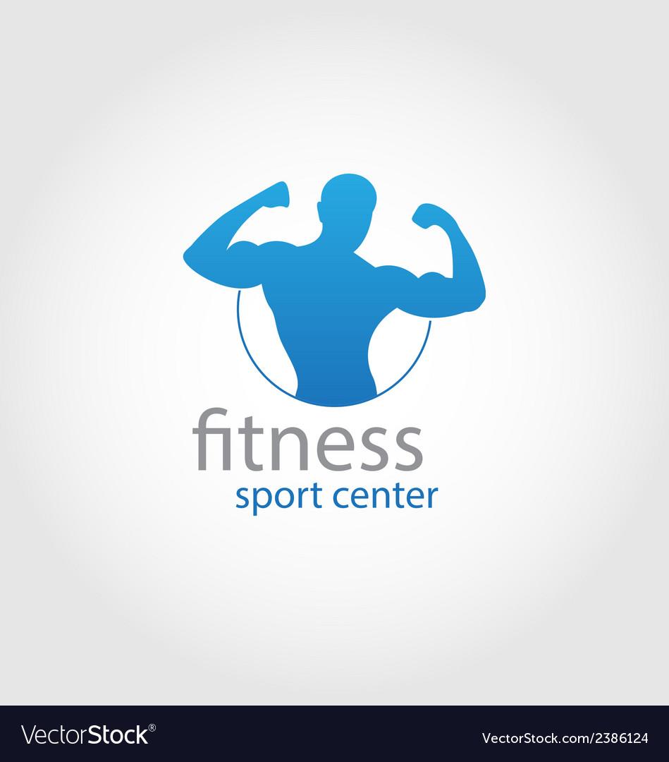 Fitness sport center logo blue vector