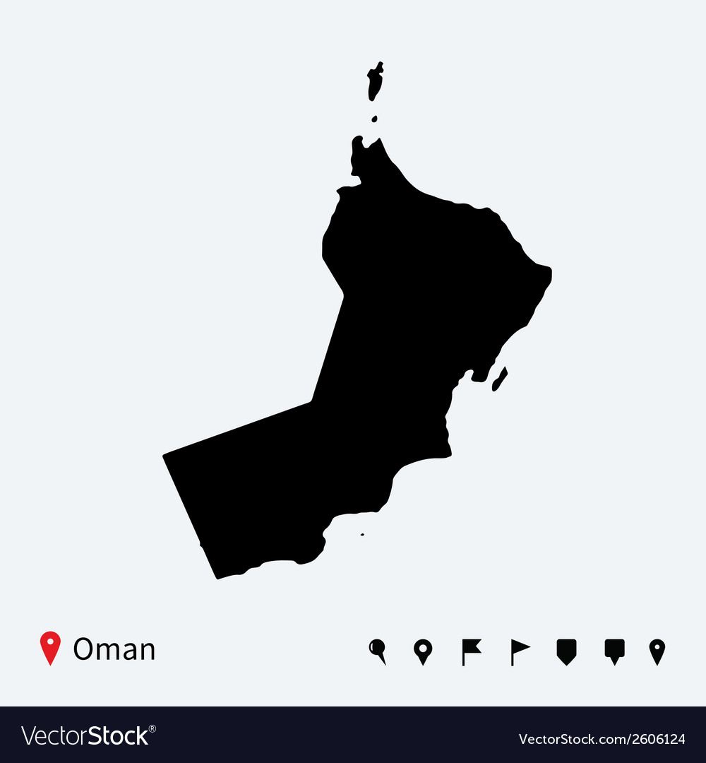 High detailed map of oman with navigation pins vector | Price: 1 Credit (USD $1)