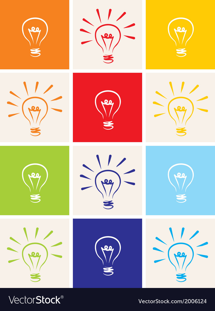 Light bulb icon set - hand drawn colorful sign vector | Price: 1 Credit (USD $1)