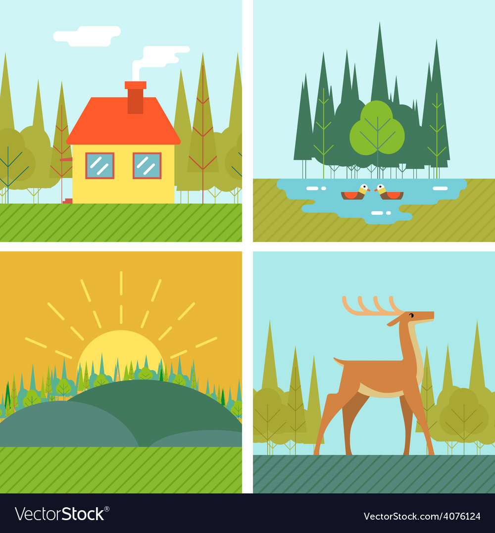 Nature landscapes outdoor life symbol lake forest vector | Price: 1 Credit (USD $1)