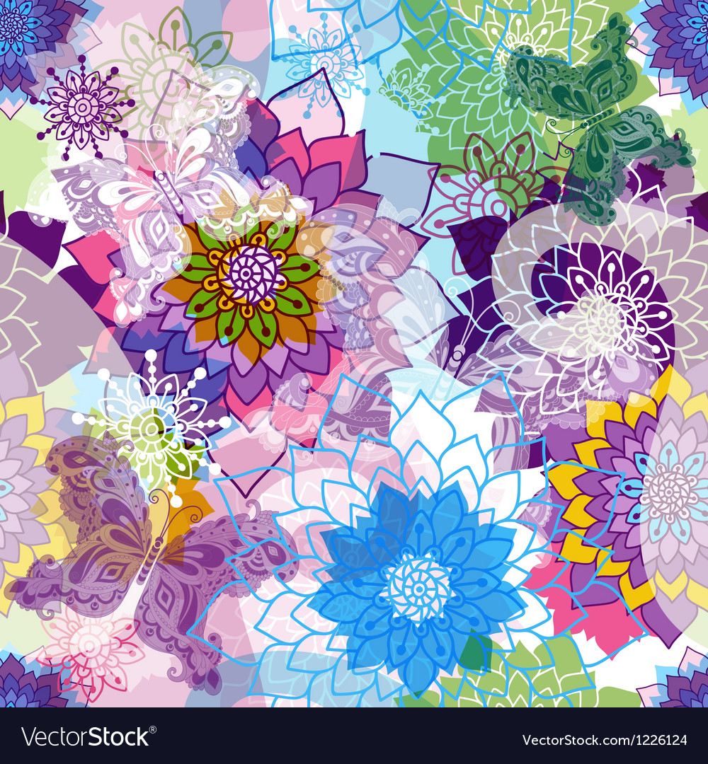 Vivid spring seamless pattern vector | Price: 1 Credit (USD $1)